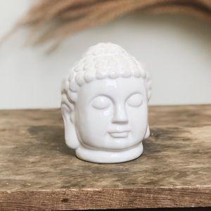 Anthropologie White Buddha Zen Ceramic Head Decor